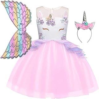Jxstar Girls Unicorn Costume Flower Pageant Princess Dresses & 2PCS Accessories