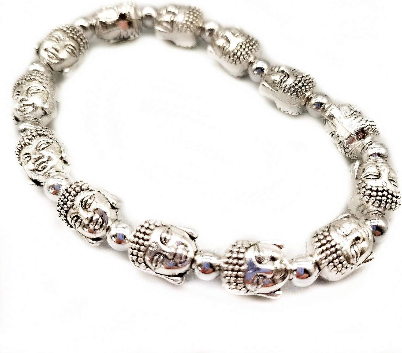 MANRUO Feng Shui Tibetan Silver Bead Bracelet Buddha Power Brace