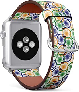 S-Type Leather Bracelet Watch Band Strap Replacement Wristband Compatible with Apple Watch 4/3/2/1 Sport Series 38mm 40mm 42mm 44mm - Wheels Called Ashoka Chakra from Flag of India