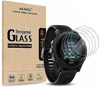 AKWOX (4-Pack) Garmin Forerunner 935 Tempered Glass Screen Protector, [0.33mm 2.5D High Definition 9H] Anti Scratch Screen...