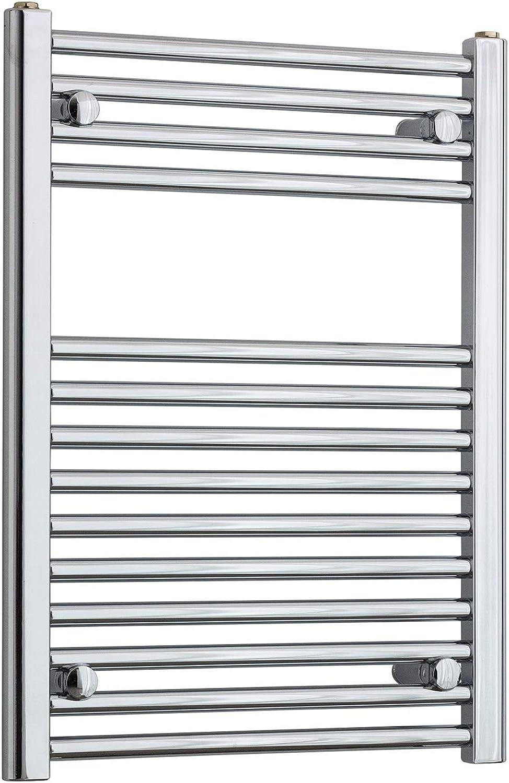 Companybluee 500mm Wide Chrome Heated Towel Rail Radiator Flat Ladder for Stylish Bathroom (500 x 700 mm 22MM)