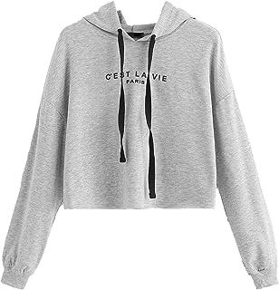 5cb982c5 SweatyRocks Women's Letter Print Long Sleeve Crop Top Sweatshirt Hoodies