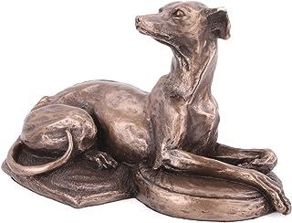 Perro de Whippet tumbado de Harriet Glen Escultura de bronce fundido fría decoración del hogar o Regalo Idea H8.5cm