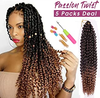 5Pack Passion Twist Hair 18Inch Water Wave Bohemian Crochet Braids Hair Crochet Braids Hair Hot Passion Twist Water Setting Synthetic Fiber Braiding Passion Hair (T1B/27# Omber Light Brown)