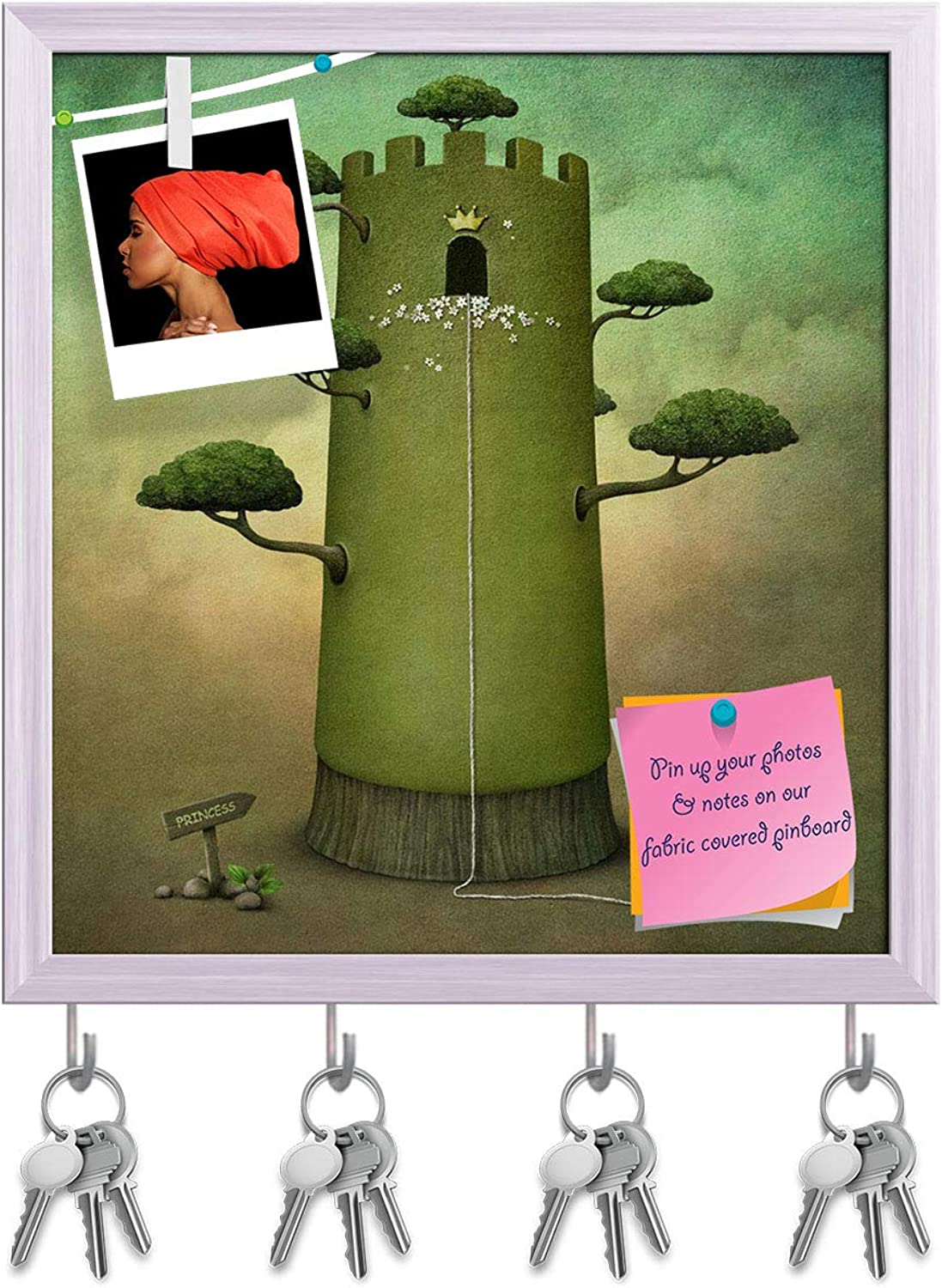 Artzfolio Fairy Tale with Tower & Trees Key Holder Hooks   Notice Pin Board   White Frame 16 X 17.1Inch