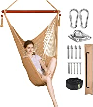 Greenstell Hammock Hanging Chair with Hanging Kits and 150cm Strap,Large Caribbean Swing Chair Comfortable Durable,100% So...