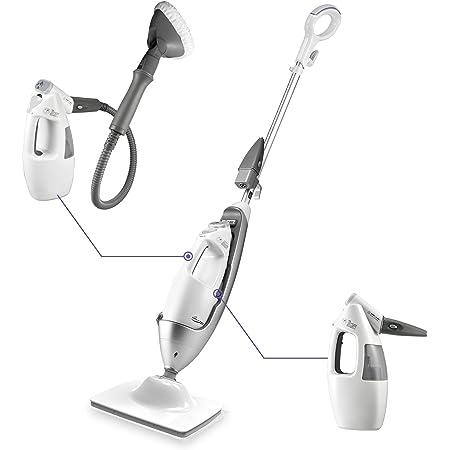 LIGHT 'N' EASY Multi-Functional steam mop Steamer for Cleaning Hardwood Floor Cleaner for Tile Grout Laminate Ceramic, 7688ANW, White