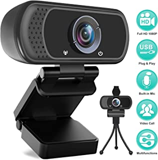 HD Webcam 1080P with Microphone, PC Laptop Desktop USB Webcams, Pro Streaming Computer Camera for Video Calling, Recording, Conferencing, Gaming, 110-Degree Widescreen Web Camera with Rotatable Clip