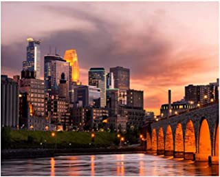"16x20"" Minneapolis Minnesota Bridge at dusks and Pictures Paint by Numbers Kits for Adults Kids DIY Wall Art Picture Frame..."