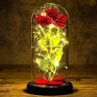 Siebwin Rose Eternelle sous Cloche, Équipé d'une Base de Lampe LED de Couleur pour Cadeau Femme, Maman, Mamie, Cadeau Anni...