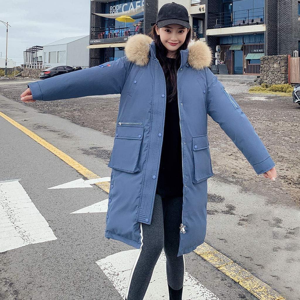 Winterparka Damen GefüTtert Dicke Warme Daunen Winterjacke mit Faux-Fellkapuze,Kanpola Oversize Wattierte Jacke Lose Kurzmantel Trenchcoat Lang Pufferjacke Outwear 22-blau