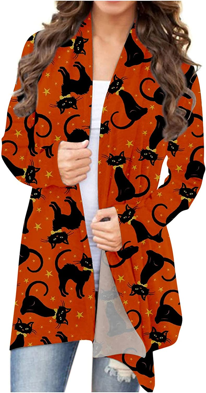Sweaters for Women,Open Front Halloween Cardigan Sweaters Long Sleeve Pumpkin Ghost Print Lightweight Coat