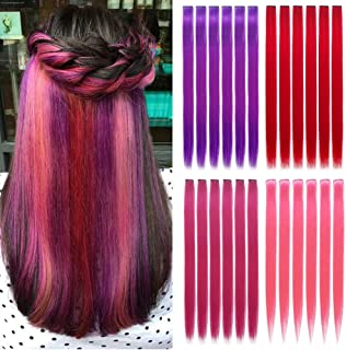 """20"""" Straight Colourful hair Party Highlights Clip on in Hair Extensions Colored Hair Streak 24 Pcs Colored Synthetic Hairpieces For Woman(Red+Rose red+Pink+Purple)"""