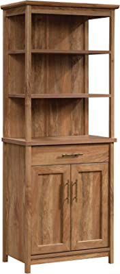 "Sauder Coral Cape Library with Doors, L: 26.77"" x W: 16.18"" x H: 66.97"", Sindoori Mango Finish"