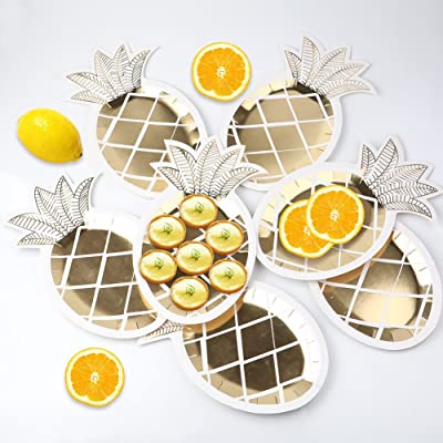 OurWarm 16 Pack Pineapple Plates Gold Foil Pine...