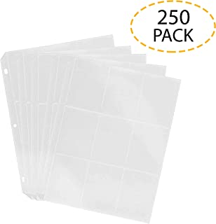 Good Old Values Trading Card Protector Sheets 9 Pocket X 250 Plastic Pages Holds 2250 Cards -3 Ring Binder