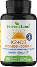 Sponsored Ad - Vitamin D3 + K2 (MK7) Supplement - MenaQ7 - Calcium and Vitamin D3 5000 IU Max Absorption - Teeth and Bone ...