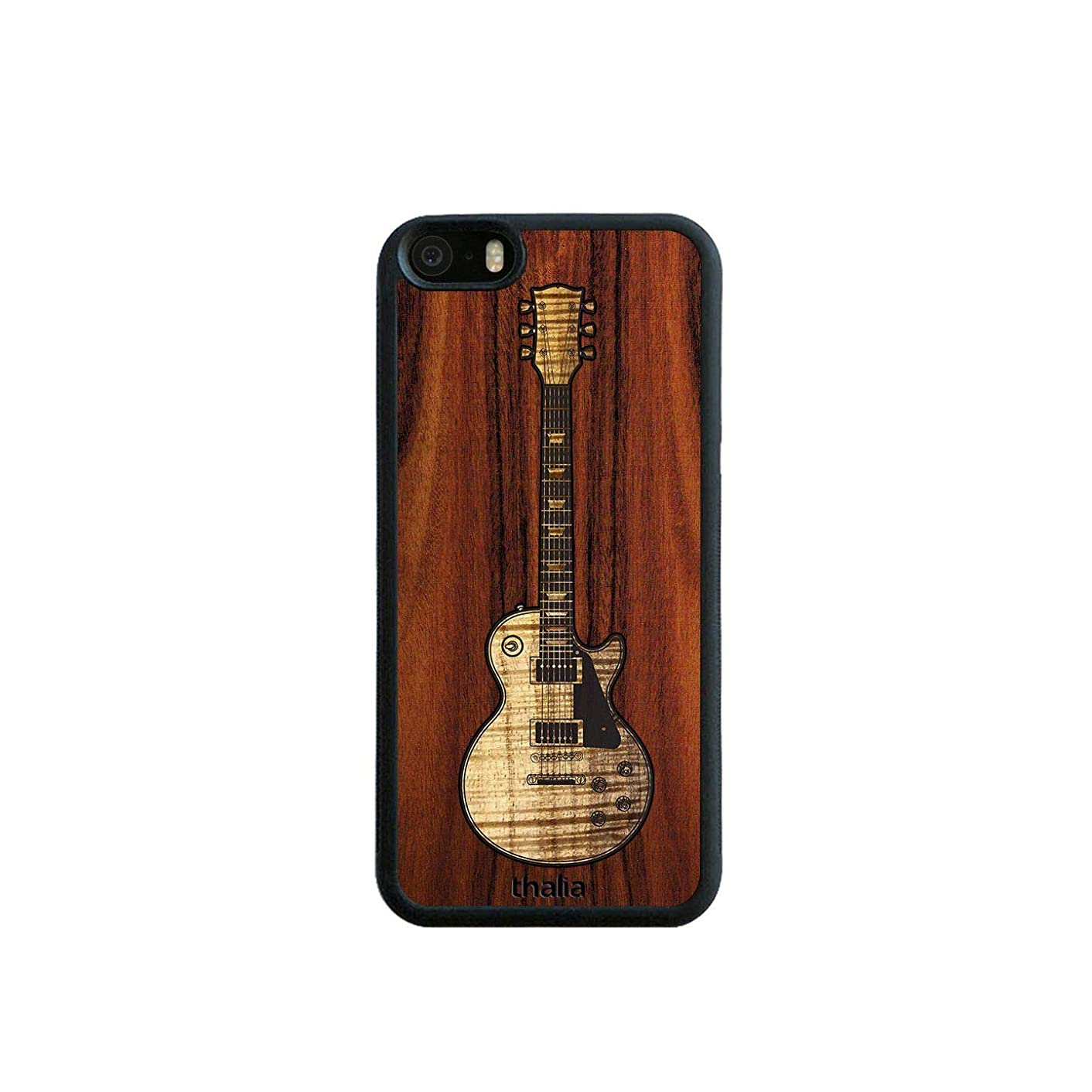 Santos Rosewood & Les Paul Hawaiian Koa Inlaid Guitar Phone Case | Thalia Exotic Wood Cases iPhone 5/5S