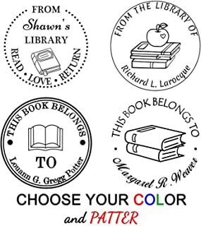 "Custom Stamp Self Inking,Personalized Stamp,1-5/8"" Diameter, Round Book/Classroom/Library/Teacher Stamp"