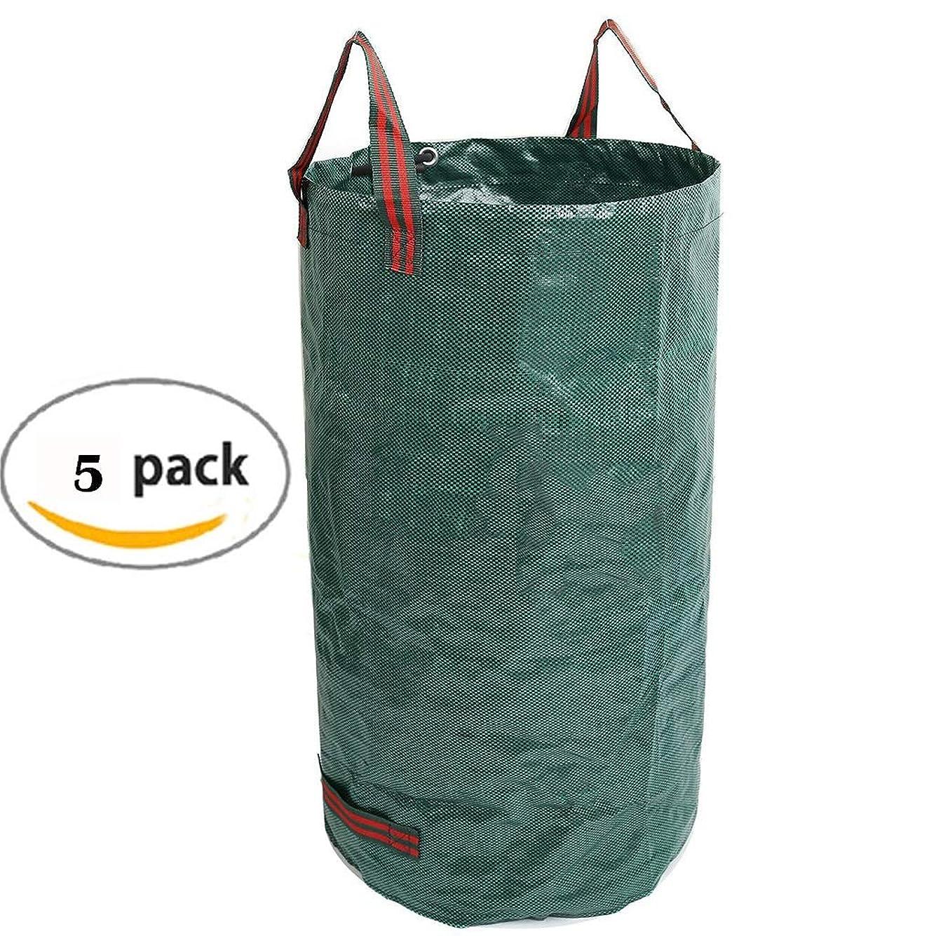松アイデア恩赦YLIAN 庭のゴミ袋 リーフグラスバッグガーデンゴミ袋ハンドル丈夫な引き裂き強度防水折りたたみ式再利用可能葉雑草120L(5パック)