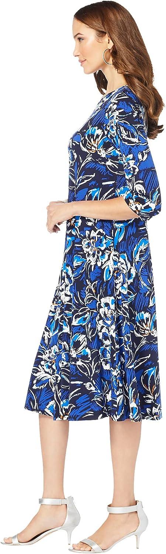 Roamans Women's Plus Size Ultrasmooth Fabric Boatneck Swing Dress Stretch Jersey 3/4 Sleeve Dress