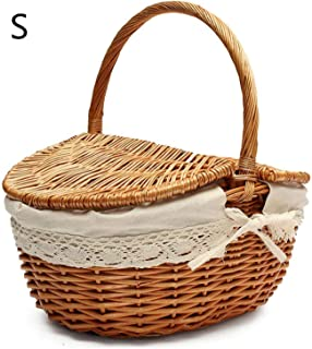 Hand Made Wicker Basket Camping Picnic Storage Hamper with Lid and Handle Wood Color Shopping Food Fruit case Home Organizer,Wood Color S