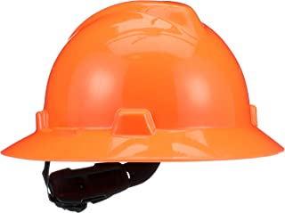MSA (Mine Safety Appliances) 10021292 Hi-Viz V-Gard Class E, G Type I Polyethylene Non-Slotted Hard Hat with Fast-Track Suspension, Orange
