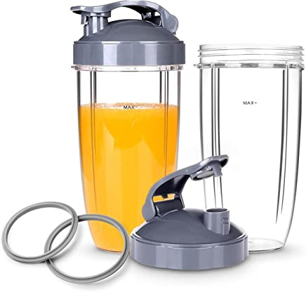 6-Piece Replacement Parts, 2X 32oz Cups with Flip Top to-Go Lid, Gasket for Nutribullet 600W/900W High-Speed Blender/Mixer