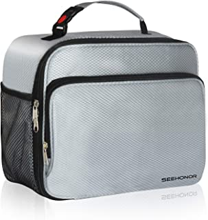 SEEHONOR Insulated Lunch Box Thermal Durable Reusable Lunch Bag Lunch Tote Bag Bento Bag Soft Bag for Women Men Adults Office Work School Picnic Hiking Beach,Silver(L)