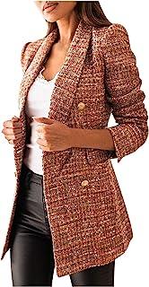 Briskorry Geruite blazer voor dames, met zakken en knopen, lange mouwen, blazer, mantel, hemdjack, blazer, geruit, elegan...