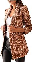 YOCIA Dames kostuumkraag bedrukte kleine mantel dames lange mouwen casual kraag bedrukt zakjas klein geruit jasje damesjas