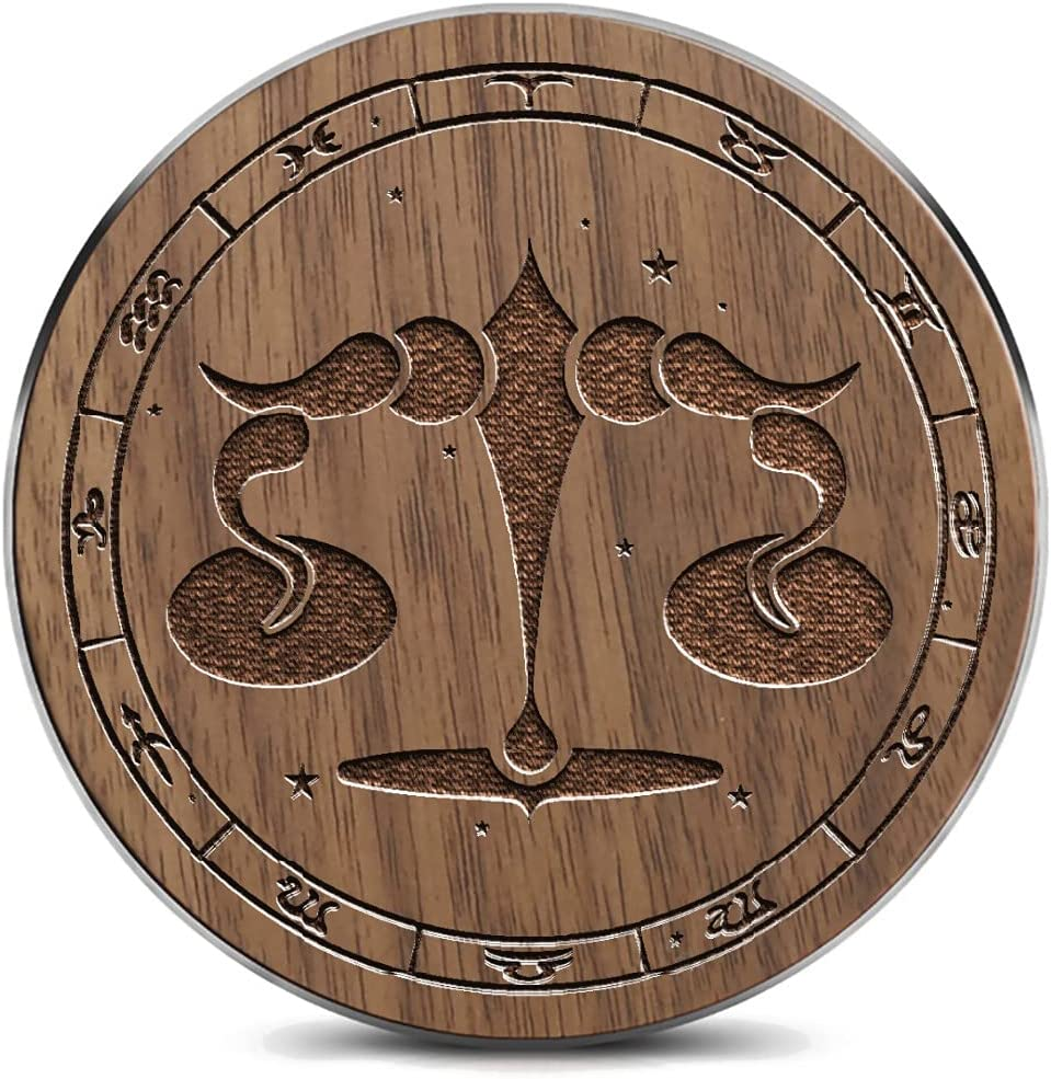 Wooden Wireless Charging Limited time for free Branded goods shipping pad with Libra Twelve Symbol of Con The