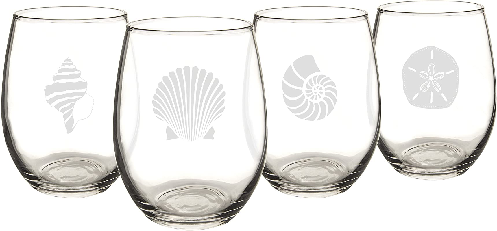 Cathy S Concepts SEA 1110 Seashell Stemless Wine Glasses 4 Unique Designs Holds Up To 21 Oz 4 Glass Set
