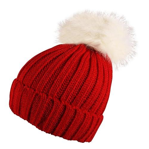 557ca20161e Itzu Unisex Ribbed Beanie Hat Chunky Detachable Faux Fur Bobble Pom Turn up  Adult Many Colours