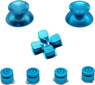 YUYIKES Metal Bullet Buttons ABXY Buttons + Thumbsticks Thumb Grip and Chrome D-pad for Sony PS4 DualShock 4 Controller Mod Kit - Blue