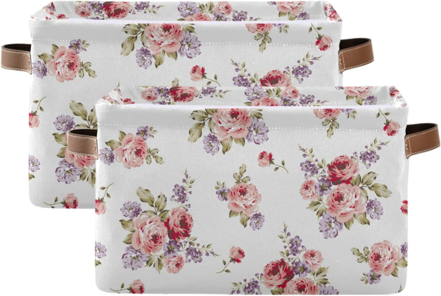 ALAZA Rectangular Foldable Don't miss the campaign Cheap mail order specialty store Storage Bin Rose Pink Flower Vintage