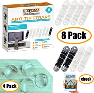 Furniture and TV Anti Tip Straps - Wall Anchor Kit for Baby Proofing Dresser, Bookshelf, Bookcase - Heavy Duty Earthquake Resistant - Protection for Children 8 Pack White & Black Free 4 Corner Guards