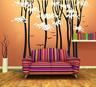 Fymural 8 Trees Flying Birds Nature Brown Wall Decals Hand-Painted Delicate Wall Stickers for Living Room Kids Baby Nursery Bedroom Living Room 98.4x70.9