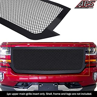 APS Compatible with 2016-2018 Chevy Silverado 1500 Main Upper Stainless Steel Black Mesh Grille Insert N19-K57367C