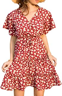 MU2M Women Short Sleeve Print A-Line V Neck Wrap Summer High Waist Midi Dress