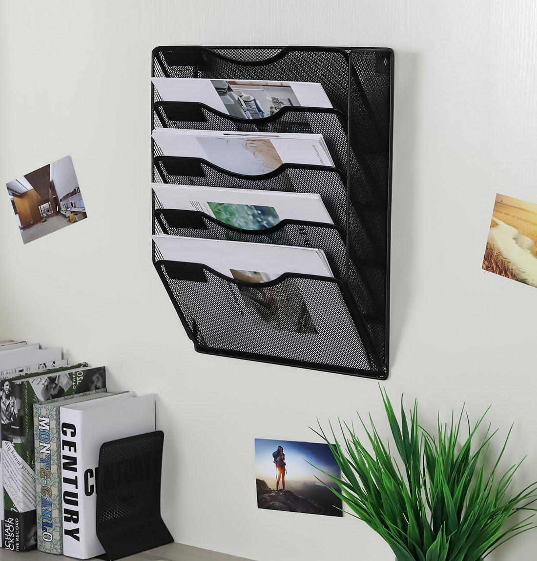 EasyPAG Office 3 Pocket Wall File Folder Holder Hanging Organizer Metal Magaz...