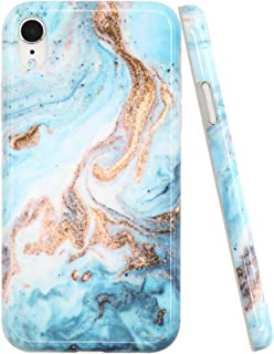 A-Focus Case for iPhone XR Case, Glossy Blue Green Marble Rock Stone IMD Design Protective Shock Proof Flexible Slim Rubber Silicone Case for iPhone XR 2018 6.1 inch Glossy Yellow Blue