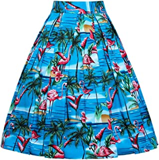 JUSSON Women's Skirt Printed Pleated Skirt Midi Skirt Cotton Fabric-seaside