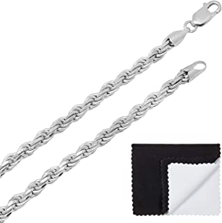 925 Sterling Silver Nickel-Free 7mm Diamond-Cut Rope Link Italian Chain + Bonus Polishing Cloth