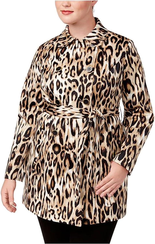 INC International Concepts Plus Size AnimalPrint Trench Coat