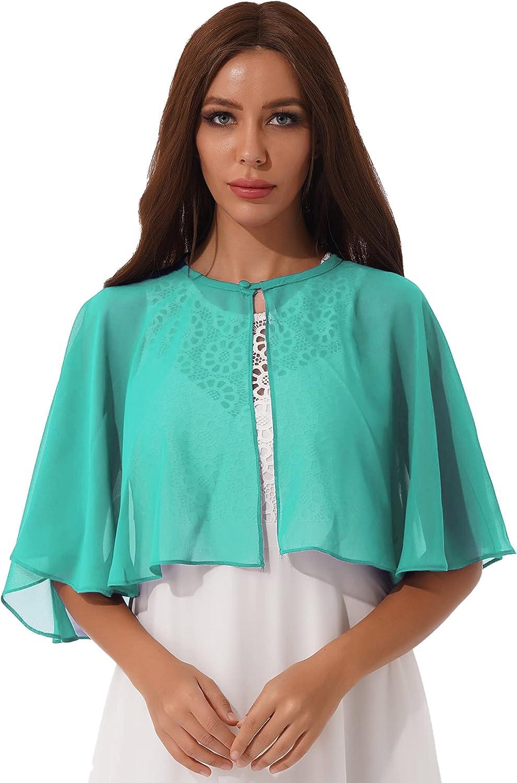 XUNZOO Women's Crew Neck Sheer Chiffon Poncho Button Short Ruffle Shrug Wedding Evening Dress Cover Up