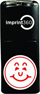 Supply360 AS-IMP2000 Round Teacher Stamp - Smiley Face Design #1, Red Ink, Durable, Light Weight Self-Inking Stamp, 5/8