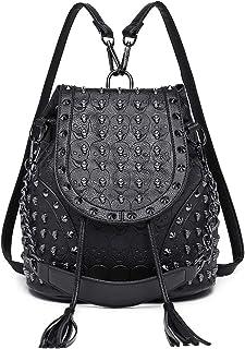 Miss Lulu Women Skull Leather Backpack Girls School Bag Ladies Fashion Shoulder Bag Drawstring Daypack Travel Rucksack
