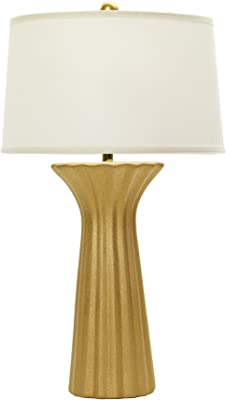 "Fangio Lighting W-8602TXTGLD 29"" Ceramic Table Lamp with Ripple Design, Textured Gold"