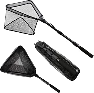 KEESHINE Rubber Folding Fishing Landing Net, Carbon Fiber Telescoping Pole, Durable Nylon Material Mesh with Rubber Coating, Safe Fish Catching and Releasing